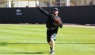 Jesse Litsch throws long toss back in February. (RSEN file photo by Eddie Michels)