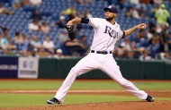 Last year, David Price working on his four hit, ten strike-out, no walk gem at the Trop against Toronto. (photo by Kim Klement-US PRESSWIRE)