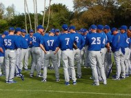 Early in camp this spring Blue jays manager John Farrell speaks to the squad. (Eddie Michels - Rocket Sports & Entertainment file photo)