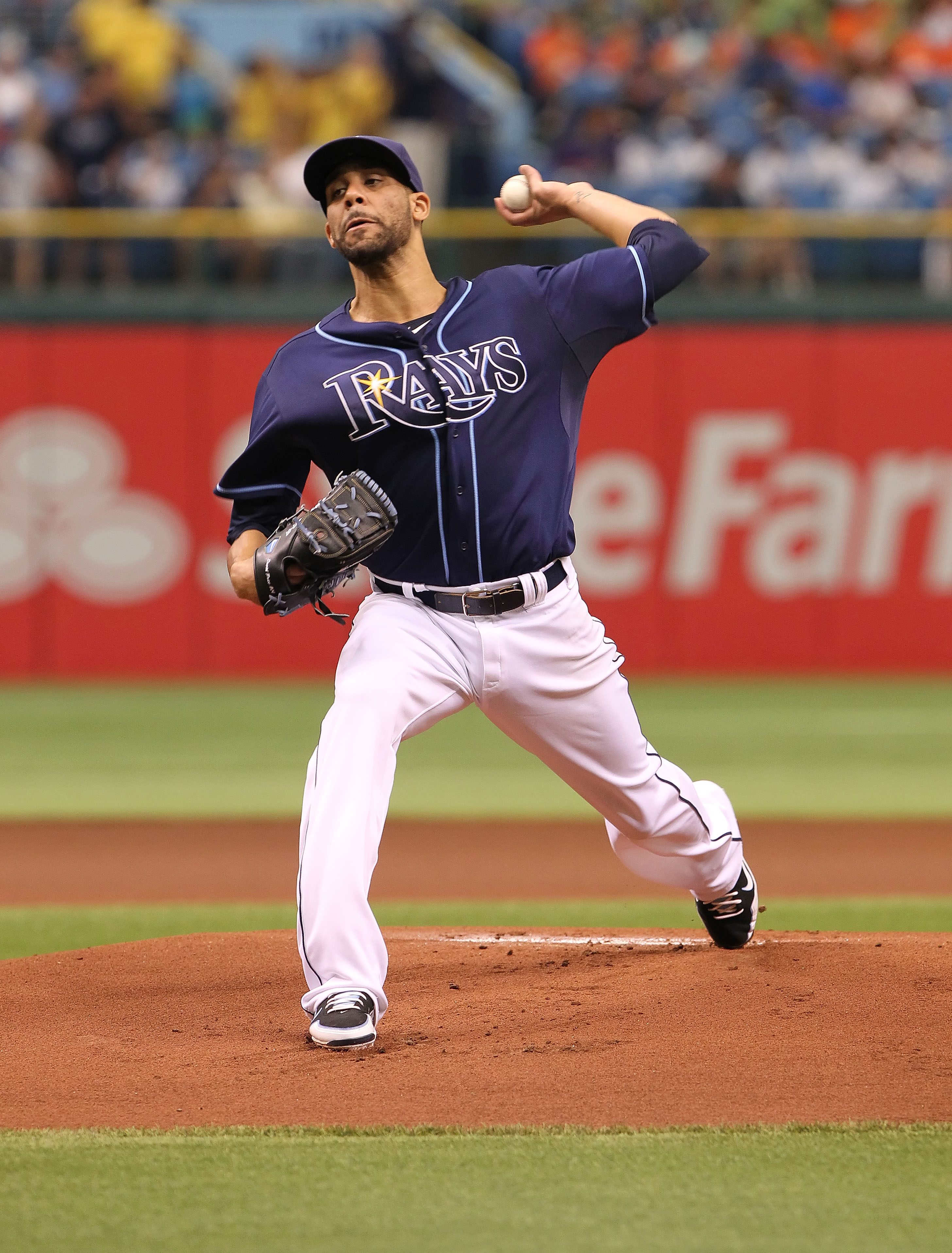 July 19, 2012; St. Petersburg, FL, USA; Tampa Bay Rays starting pitcher David Price (14) throws a pitch in the first inning against the Cleveland Indians at Tropicana Field (Kim Klement-US PRESSWIRE)