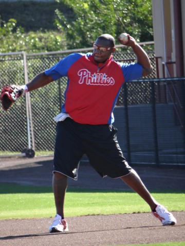 Earlier this week Howard works on some throws to the second  (EDDIE MICHELS PHOTO)