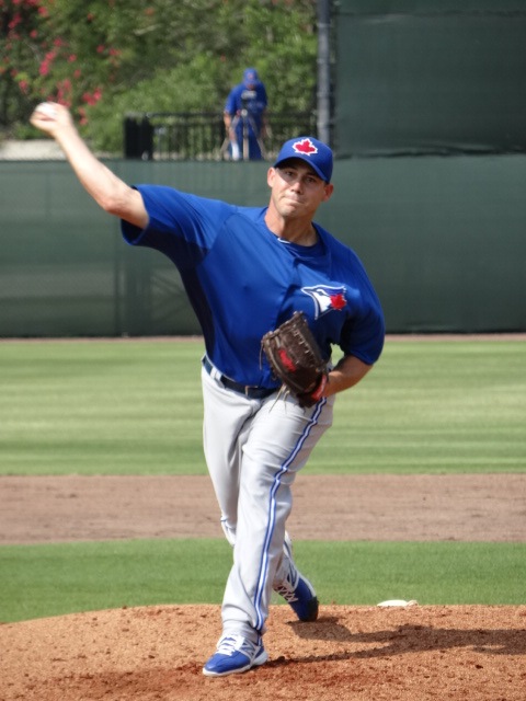 Also today, Toronto righty Dustin McGowan faced five Phillies extended players  and didn't allow a ball out of the infield.  Getting his pitch count up to approximately 20 pitches McGowan induced his opponents into three ground outs and two strike outs.  McGowan who has suffered shoulder and elbow problems during his career spent the entire 2012 season on the DL for plantar fascitis which led to soreness in his right shoulder.  He is next scheduled to pitch on Tuesday. (EDDIE MICHELS/PHOTO)