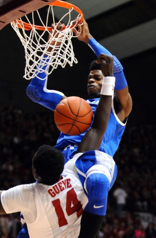 Nerlens Noel (3) dunks the ball over Alabama Crimson Tide center Moussa Gueye (14) during the first half at Coleman Coliseum. (photo USA TODAY Sports Images / Kelly Lambert)