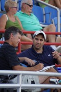 Dane Johnson (L) Blue Jays minor league pitching coordinator and Blue Jays GM Alex Anthopoulos (R) take in Thursday night's Dunedin vs Charlotte Class-A game at Florida Auto Exchange Stadium in Dunedin.  (Eddie Michels/Photo)