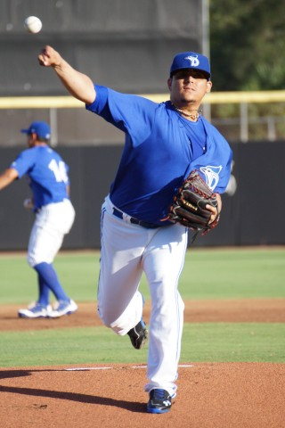 Roberto Osuna went 4 1/3 innings allowing three runs on five hits while walking none and striking out seven on 72-pitches.  His longest outing of the season with Class-A Dunedin. (EDDIE MICHELS/PHOTO)