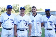 DUNEDIN, Fl.--The Upper Class-A Dunedin Blue Jays stacked the Florida State Leagues post season All Star squad for 2014.  Heading up the honorees is manager Omar Malave (L) who guided the squad to the FSL Northern Division Crown first half crown.  Closer Arik Sikula (second from left), RHP Taylor Cole (third from left) and outfielder Dwight Smith Jr. (R).  All three of the players were named to the FSL mid season all star game. (EDDIE MICHELS/PHOTO)