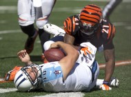 The Bengals defense has been dominant to open 2014 as Jake Locker (10)  and the Tennessee Titans found out in week three.  Darqueze Dennard hammers Locker.  (USA TODAY Sports / Aaron Doster)