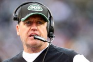 New York Jets head coach Rex Ryan coaches against the New England Patriots during the third quarter at MetLife Stadium. The Patriots defeated the Jets 17-16. (Brad Penner-USA TODAY Sports)