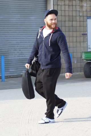 Newly acquired catcher Russell Martin arrives at the Blue Jays Mattick Complex in Dunedin on Tuesday February 10th.  Acquired as a free agent Martin signed a five-year $82-million contract with the team during the off season after spending two years with the Pirates.  Martin is a native of East York, Ont and now resides in Montreal, Quebec. (EDDIE MICHELS/PHOTO)