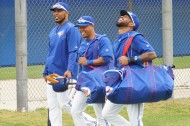 Edwin Encarnacion, Ramon Santiagoand Jose Reyes (left to right) arriving (EDDIE MICHELS PHOTO)