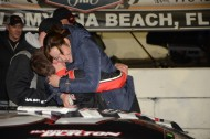 Harrison Burton gets big hugs from Mom and Dad (photo Rodney Meyering / RSEN)