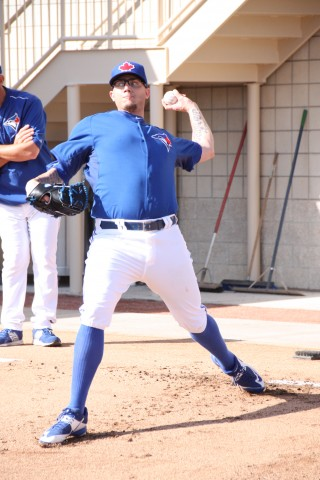 First time on a mound since February 28th is a great sign for Cecil and the Jays (EDDIE MICHELS PHOTO)