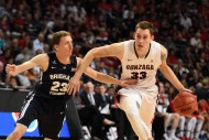 Gonzaga Bulldogs forward Kyle Wiltjer (33) dribbles the basketball against Brigham Young Cougars guard Skyler Halford (23) during the first half in the finals of the West Coast Conference tournament at Orleans Arena. (photo USA TODAY Sports / Kyle Terada)