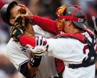 Jason Varitek & ARod fisticuffs (Dugout View photo)