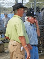 Toronto Blue Jays staff members Mel Didier (L) and Jim Fanning (R) observe workouts at the team's Englebert Complex in Dunedin Thursday morning October 14, 2010.  Fanning a former catcher with the Cubs in the late 50's and Expos manager in the 80's just arrived in camp on Wednesday.  Both gentlemen possess a wealth of knowledge about the game of baseball and are passing it on to the team's prospects. (EDDIE MICHELS PHOTO)