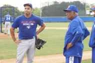 Romero Chats with Sandy Alomar Sr. after his last live hitter session 4-25-15 (EDDIE MICHELS PHOTO)