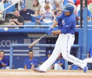 Rowdy Tellez, the reigning player of the week in the Florida State League kept up his hitting prowess with a two run homer in the first inning for Class-A Dunedin on Friday. (EDDIE  MICHELS PHOTO)