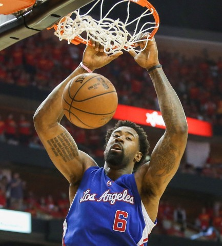 May 17, 2015; Houston, TX, USA; Los Angeles Clippers center DeAndre Jordan (6) dunks the ball during the fourth quarter against the Houston Rockets in game seven of the second round of the NBA Playoffs at Toyota Center. The Rockets defeated the Clippers 113-100 to win the series 4-3. Mandatory Credit: Troy Taormina-USA TODAY Sports