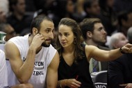 San Antonio Spurs assistant coach Becky Hammon (R) talks to shooting guard Manu Ginobili (20) during the first half against the Indiana Pacers at AT&T Center. (USA TODAY Sports / Soobum Im)