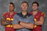 Southern California Trojans linebacker Su'a Cravens (left), coach Steve Sarkisian (center) and quarterback Cody Kessler.  (photo Kirby Lee / USA TODAY Sports)