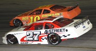 Bobby Good 27, finishes third, battling here with Gorham, who would finish 2nd (photo by Rodney Meyering)