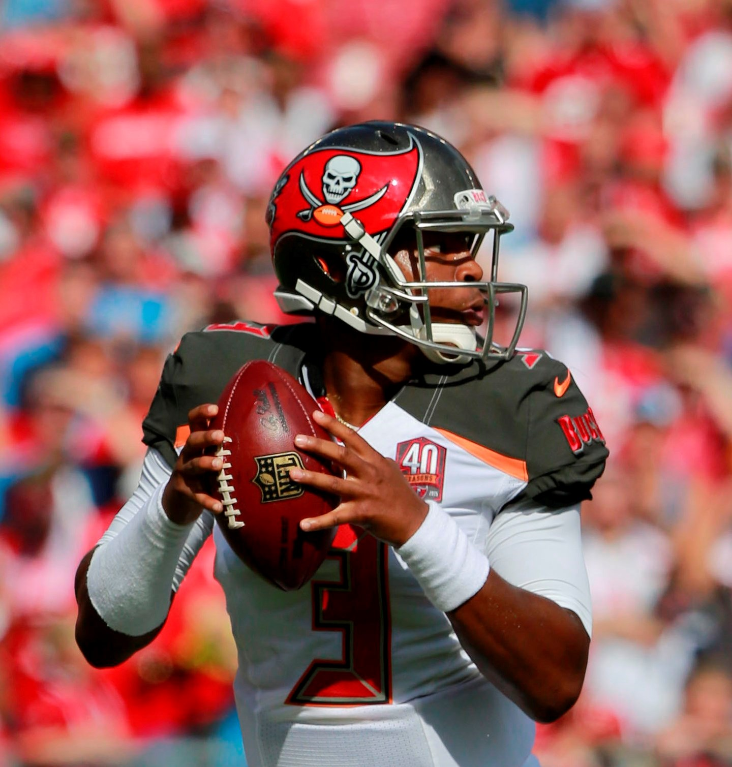 Sep 13, 2015; Tampa, FL, USA; Tampa Bay Buccaneers quarterback Jameis Winston (3) drops back against the Tennessee Titans during the first quarter at Raymond James Stadium. Mandatory Credit: Kim Klement-USA TODAY Sports