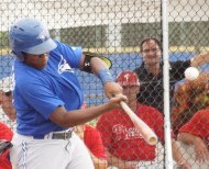 Blue Jays prospect Emilo Guerrero hits a two run homer to left on Monday against the Phillies in an Instructional League game.  Guerrero is the nephew of former Indians and Nationals manager Manny Acta. (EDDIE MICHELS PHOTO)