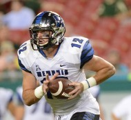 Oct 2, 2015; Tampa, FL, USA; Memphis Tigers quarterback Paxton Lynch (12) runs with the ball in the second half against the South Florida Bulls at Raymond James Stadium. Mandatory Credit: Jonathan Dyer-USA TODAY Sports