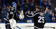 "Ben Bishop (30) is congratulated and more than likely wished ""Happy Birthday"" by Matt Carle .(Kim Klement-USA TODAY Sports)"