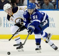Nov 10, 2015; Tampa, FL, USA; Tampa Bay Lightning center Valtteri Filppula (51) skates as Buffalo Sabres center Jack Eichel (15) defends during the third period at Amalie Arena. Buffalo Sabres defeated the Tampa Bay Lightning 4-1. Mandatory Credit: Kim Klement-USA TODAY Sports