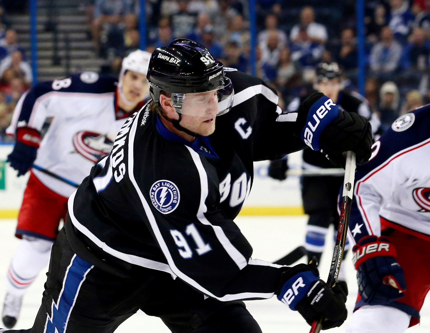 Dec 26, 2015; Tampa, FL, USA; Tampa Bay Lightning center Steven Stamkos (91) shoots the puck to score a goal against the Columbus Blue Jackets during the second period at Amalie Arena. Mandatory Credit: Kim Klement-USA TODAY Sports