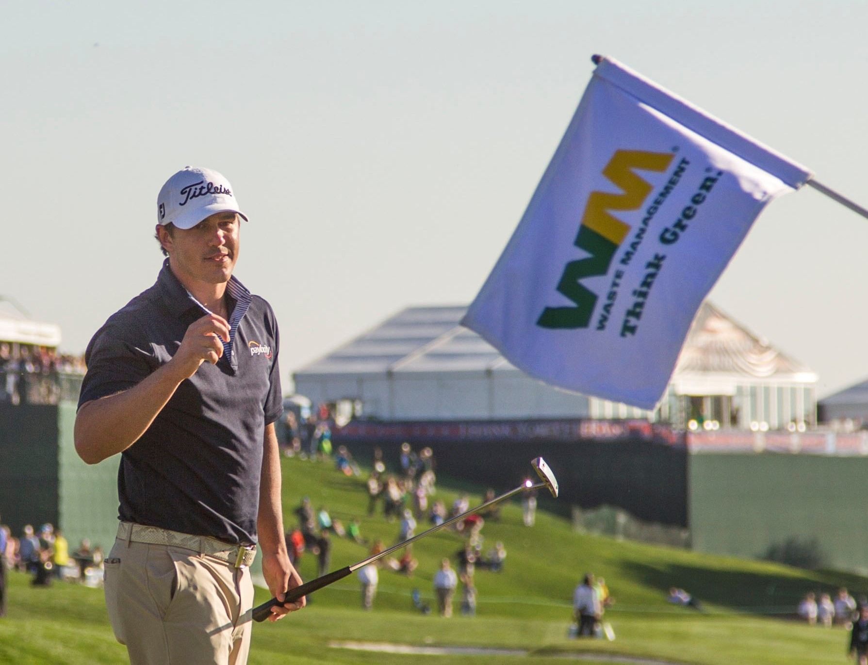 Feb 1, 2015; Scottsdale, AZ, USA; Brooks Koepka reacts to making par and winning the Phoenix Open on the eighteenth hole during the final round of the Waste Management Phoenix Open at TPC Scottsdale. Mandatory Credit: Patrick Breen-Arizona Republic via USA TODAY Sports