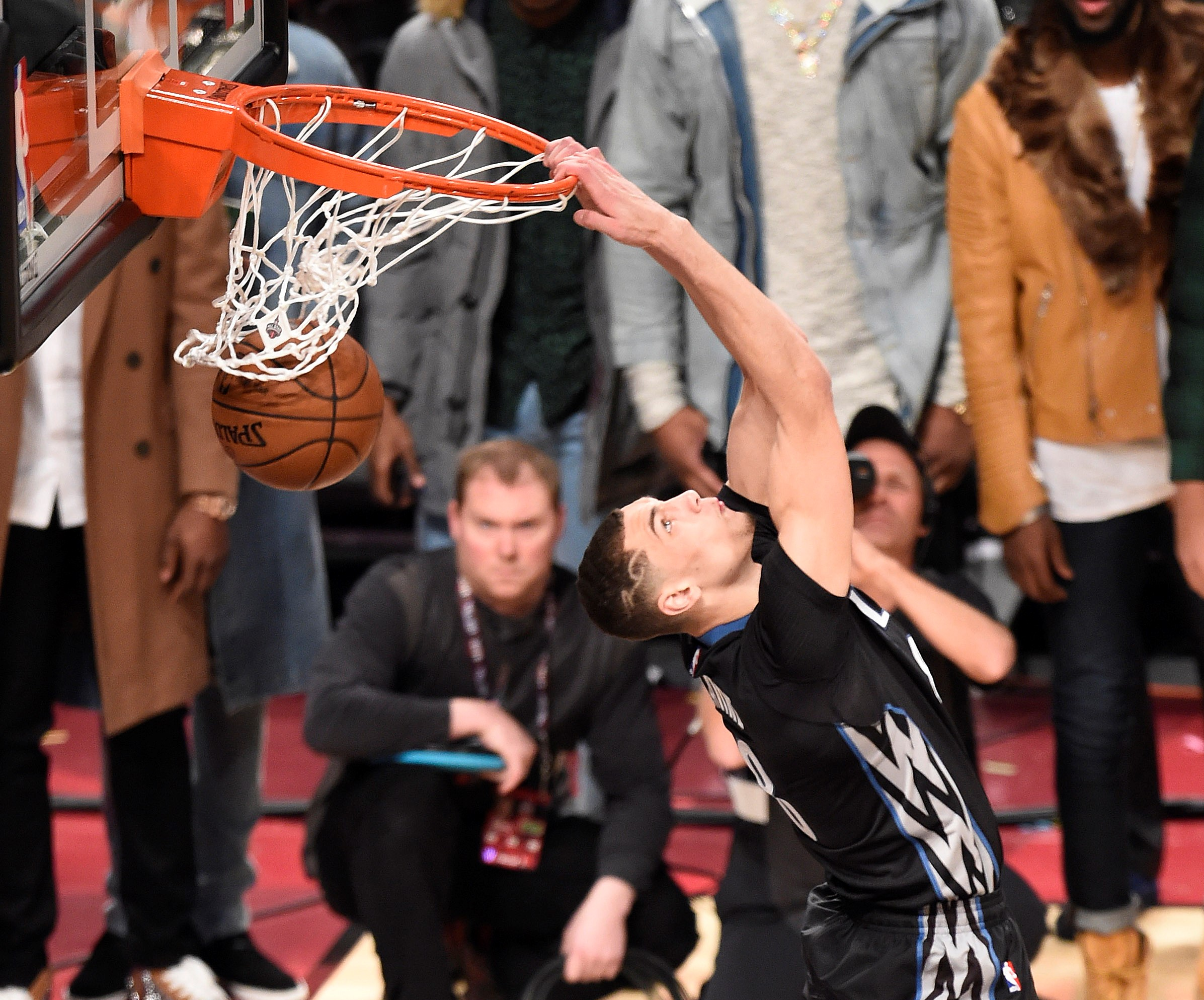 Feb 13, 2016; Toronto, Ontario, Canada; Minnesota Timberwolves player Zach LaVine (8) during the slam dunk contest during the All-Stars Saturday Night at Air Canada Centre. Mandatory Credit: Peter Llewellyn-USA TODAY Sports