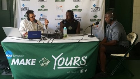 Rick chats with Lions guard Tyreece Brice (center) and Head Coach Vince Alexander. (Rocket Sports & Entertainment Network Show live from Saint Leo University Wednesday March 2, 2016)