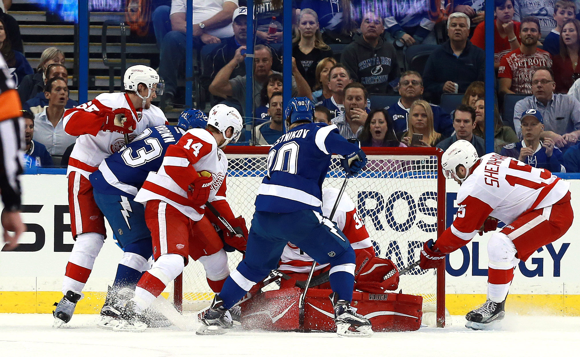Vladislav Namestnikov (90) scores a goal on Detroit Red Wings goalie Jimmy Howard (35) during the first period at Amalie Arena.(photo Kim Klement / USA TODAY Sports)