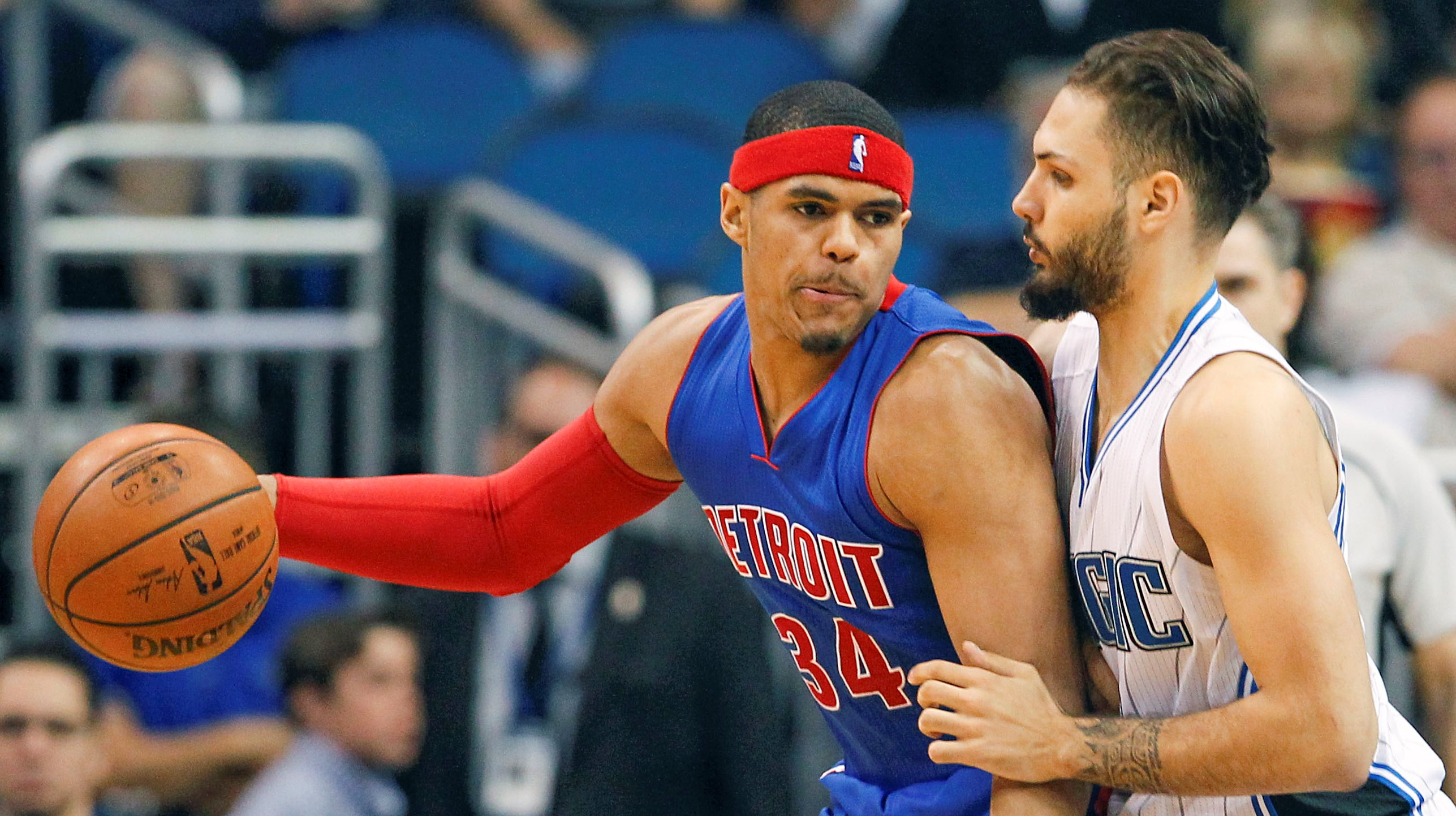 Apr 6, 2016; Orlando, FL, USA; Orlando Magic guard Evan Fournier (10) guards against Detroit Pistons forward Tobias Harris (34) during the second half of a basketball game at Amway Center. The Pistons won 108-104. Mandatory Credit: Reinhold Matay-USA TODAY Sports