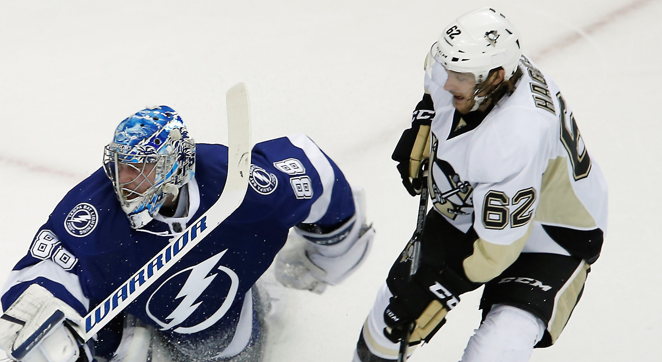 May 18, 2016; Tampa, FL, USA;  Pittsburgh Penguins left wing Carl Hagelin (62) scores a goal against Tampa Bay Lightning goalie Andrei Vasilevskiy (88) during the second period in game three of the Eastern Conference Final of the 2016 Stanley Cup Playoffs at Amalie Arena. Mandatory Credit: Reinhold Matay-USA TODAY Sports