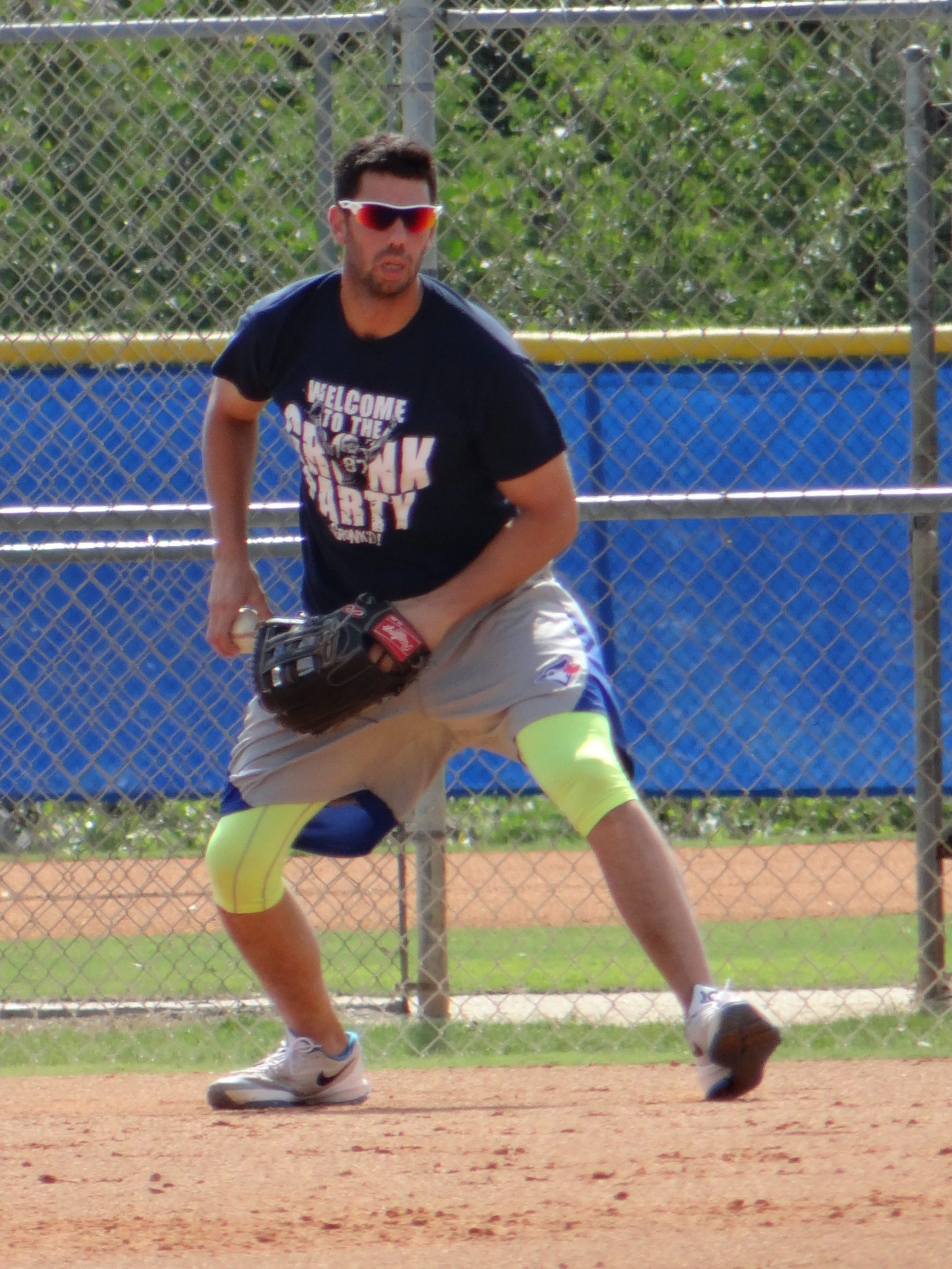 Chris Colabello Works Out at First  (EDDIE MICHELS PHOTO)