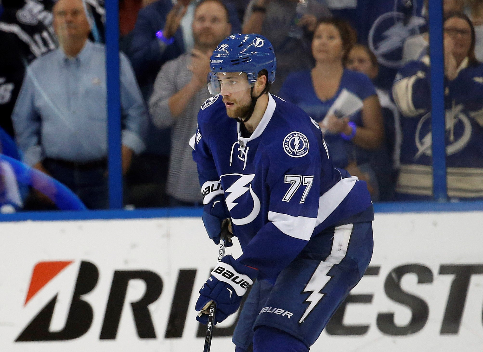 May 8, 2016; Tampa, FL, USA; Tampa Bay Lightning defenseman Victor Hedman (77) skates with the puck against the New York Islanders during the third period in game five of the second round of the 2016 Stanley Cup Playoffs at Amalie Arena. Tampa Bay Lightning defeated the New York Islanders 4-0. Mandatory Credit: Kim Klement-USA TODAY Sports