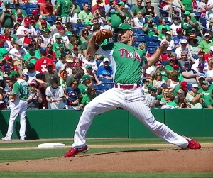 Cliff Lee working to the Jays on a St. Patrick's Day spring training game in Clearwater while Cole Hamels signs for the fans. (EDDIE MICHELS / RSEN PHOTO)