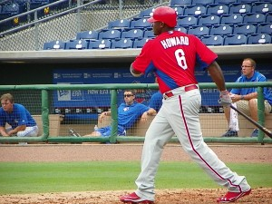 In 2012, Ryan Howard singles to right in a rehab start in Clearwater this summer (Eddie Michels photo)