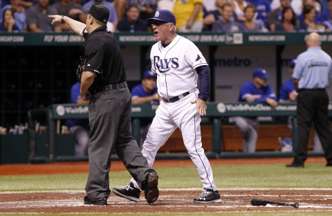 Joe Maddon gets run from a game.  (Kim Klement / USA TODAY Sports)