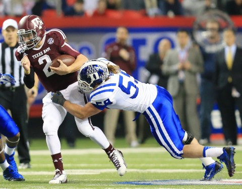 ohnny Manziel (2) is brought down by Duke Blue Devils linebacker Kelby Brown in the 1st quarter during the Chick-fil-A Bowl (USA TODAY Sports / Daniel Shirey)
