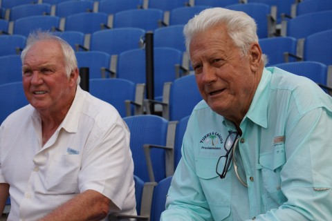 Former Philadelphia Phillies managers Charlie Manuel and Dallas Green take in the Class-A  Clearwater Threshers at Dunedin Blue Jays game on Thursday June 19, 2014.      The pair appeared focused on the Phillies top prospect SS J. P. Crawford.      The two are the only World Series winning managers in the history of the Phillies, Manuel 2008 and Green 1980. (Eddie Michels/Photo)