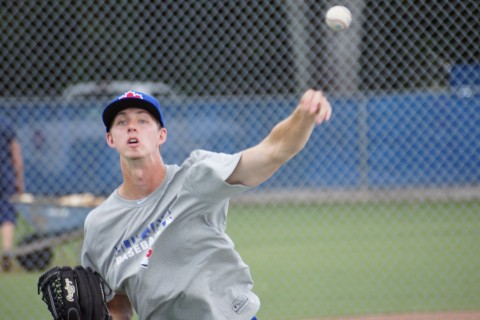 Toronto's third round pick Nick Wells throws long toss his first day in camp on Wednesday June 18, 2014.  Wells will be starting his pro career with the GCL Blue Jays whose season starts on Friday.  (Eddie Michels/Photo)