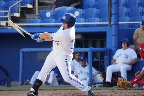 Dunedin Blue Jays first baseman L. B. Dantzler grounded out third to first Thursday night but it cost him a bit.  Dantzler broke the barrel off the end of the bat. (Eddie Michels/Photo)