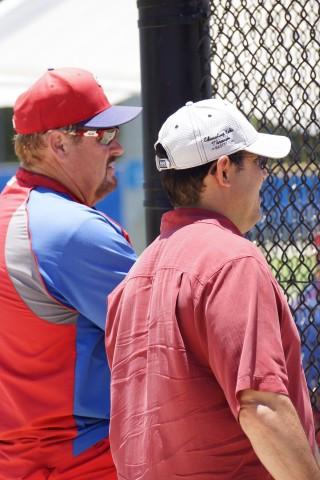 Ruben Amaro Jr. (right) with the skipper of the Threshers, former Major Leaguer,  Ernie Whitt (EDDIE MICHELS   PHOTO)