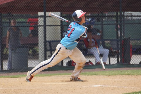 The Rockford (Ill.) Hard Knox's Cooper Killey pops out to second to end the seventh  inning during the IBC Tournament at the Joe DiMaggio Complex.  The tournament which is a round robin and bracket format ends on Thursday. (Eddie Michels/Photo)