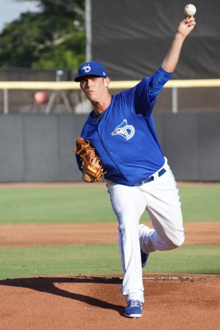 """-RHP Sean Nolin (groin) threw his second rehab start for Class-A Dunedin on Thursday July 24, 2014.  Nolin went 4 2/3 innings allowing two runs on two hits while walking two and striking out two.  """"I'm feeling good,"""" said Nolin afterwards but as to where he pitches next, """"I have no clue, I hope it's Buffalo.""""  (Eddie Michels/Photo)"""