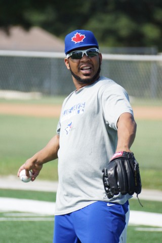 Blue Jays 1B Edwin Encarnacion (right quadriceps strain) worked out under the clear blue sky's at the Mattick Complex for the first time in a week after suffering a minor set back.  Encarnacion also hit off a tee in the batting cages at the complex. (Eddie Michels/Photo)